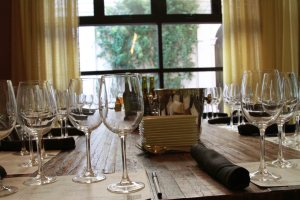 wine glasses on table in front of window