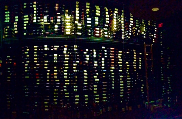 The glass walled wine cellar