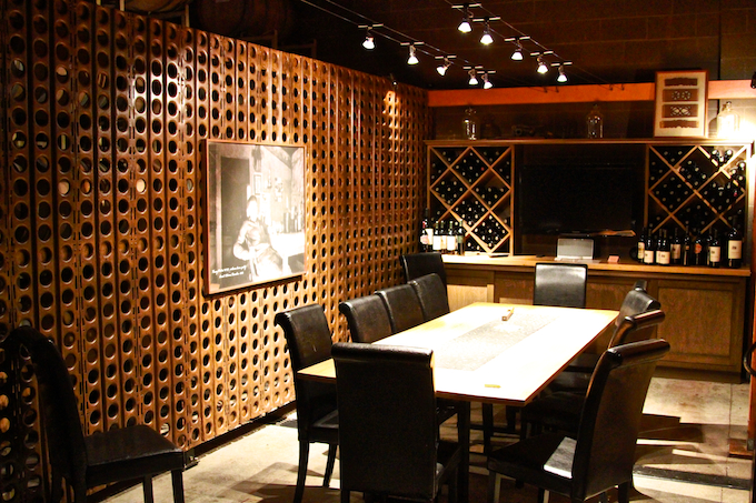 The private tasting area, which is located right in the cellar.