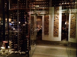 The glass walk thru wine cellar